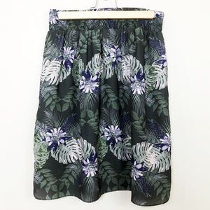 Tropical Palm Tree Print Olive Green Mini Skirt